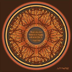 celtic dragonfly mandala in orange and brown