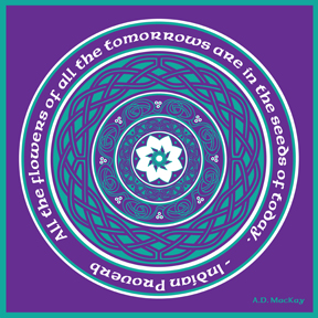 celtic lotus mandala in teal and purple