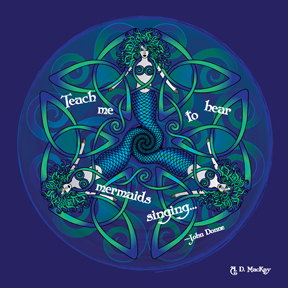 celtic mermaid mandala in blue and green